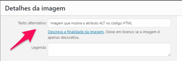 Painel do WordPress para otimizar a tag ALT da imagem