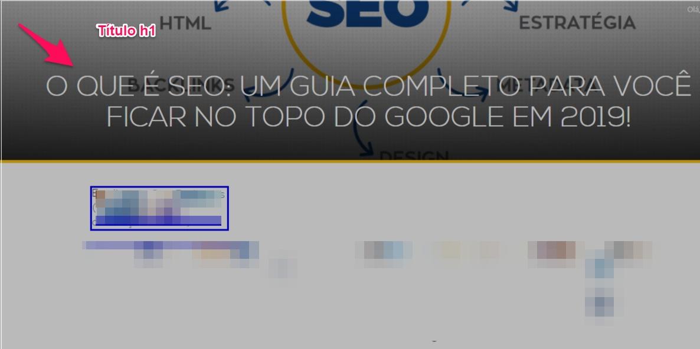 Exemplo de título h1 em um site