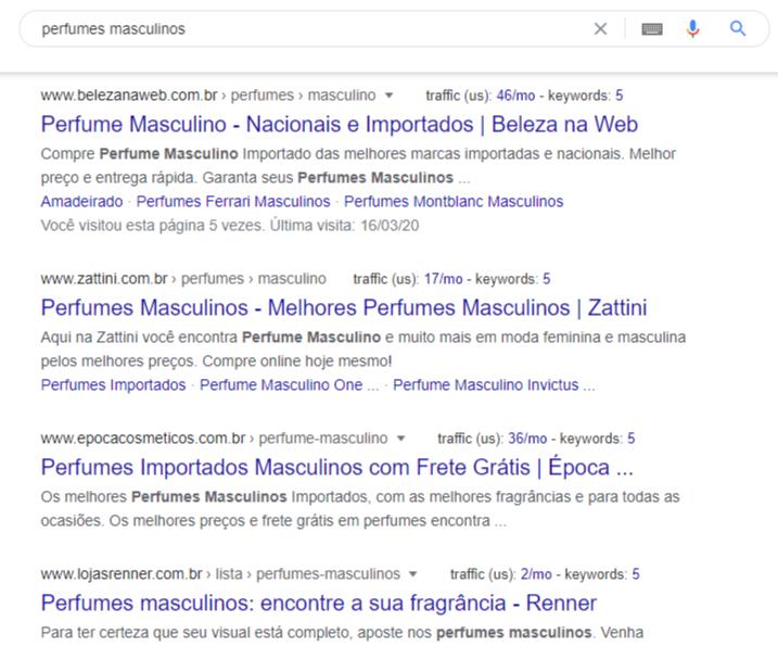 """Resultados na primeira página do Google para """"perfumes masculinos"""""""